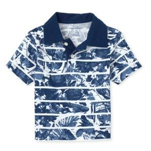 NWT PLACE Blue Print Jersey Polo Shirt 5T